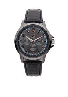 Legion Men's Black Strap Gunmetal Sunray Dial Watch