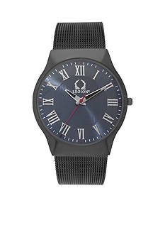 Legion Hematite-Tone Gunmetal Mesh Blue Men's Watch