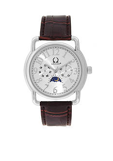 Legion Silver-Tone Crocco Silver Dial Brown Leather Watch