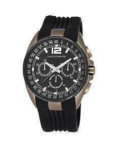 Vince Camuto Khaki Chronograph with Textured Black Silicone Strap Watch
