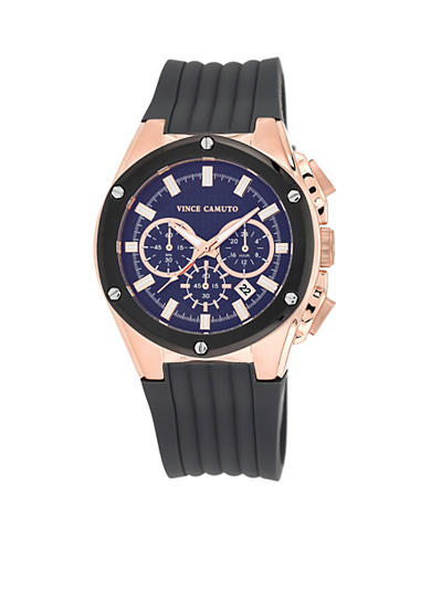 Vince Camuto Stainless Steel Rose Gold Multi-Function with Gray Silicone Strap Watch