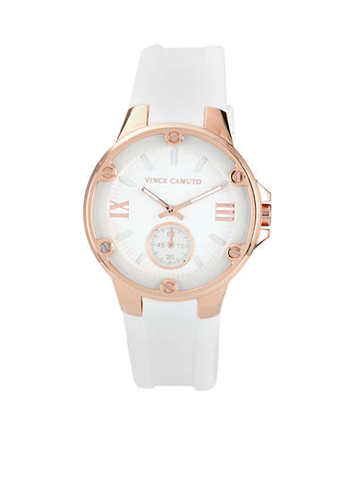 Vince Camuto White Silicon Strap with Rose Gold Bezel