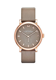 Marc Jacobs Women's Baker Gray Leather Three Hand Watch