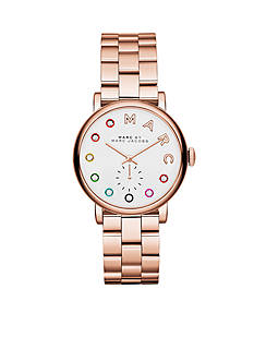 Marc Jacobs Women's Rose Gold-Tone Baker Three Hand Stainless Steel Watch