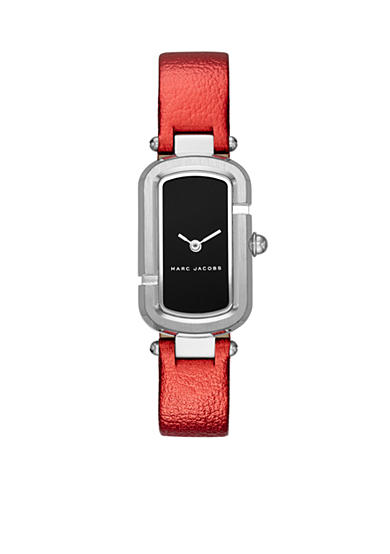 Marc Jacobs Women's Jacobs Stainless-Steel and Red Leather Two-Hand Watch