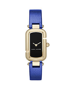Marc Jacobs Women's Jacobs Gold-Tone and Blue Leather Two-Hand Watch