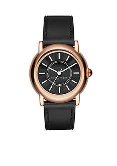 Marc Jacobs Women's Rose Gold-Tone Courtney Black Leather Strap Three-Hand Watch