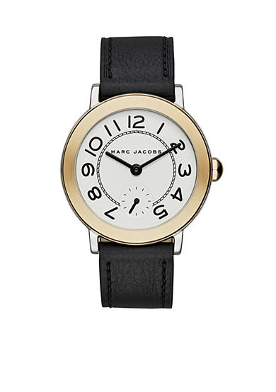 Marc Jacobs Women's Two-Tone Riley Black Leather Strap Three-Hand Watch
