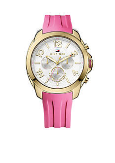 Tommy Hilfiger Women's Multifunction Sport Gold-Tone and Pink Silicone Watch