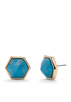 Trina Turk Pierced Hexagon Stone Stud Earring