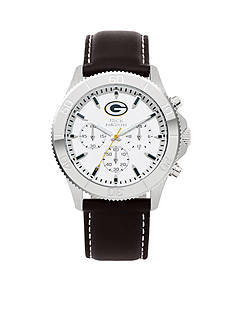Jack  Mason Men's Green Bay Packers Chronograph Leather Strap Watch