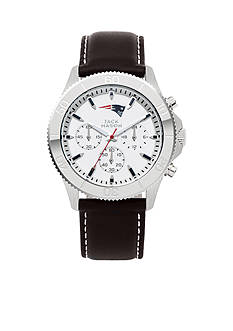 Jack  Mason Men's New England Patriots Chronograph Leather Strap Watch