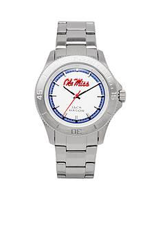 Jack Mason Men's Ole Miss Sport Bracelet Silver Dial Watch