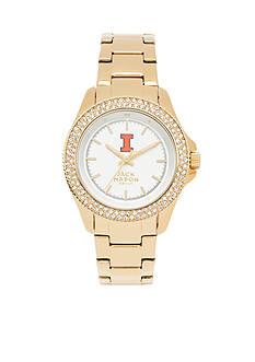 Jack Mason Women's Illinois Gold Tone Glitz Sport Bracelet Watch