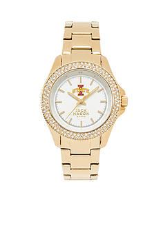Jack Mason Women's Iowa State Gold Tone Glitz Sport Bracelet Watch