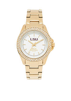 Jack Mason Women's LSU Gold Tone Glitz Sport Bracelet Watch