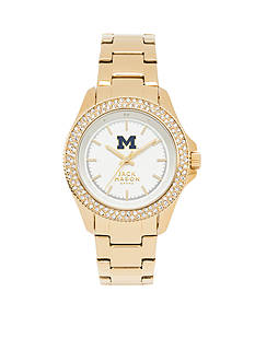 Jack Mason Women's Michigan Gold Tone Glitz Sport Bracelet Watch