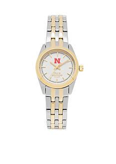 Jack Mason Women's Nebraska Two Tone Dress Bracelet Watch