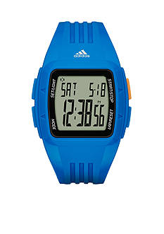 adidas® Men's Duramo Digital Blue Silicone Watch