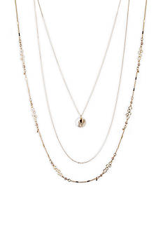 Lonna & Lilly Goltone Three Row Mixed Chain Necklace