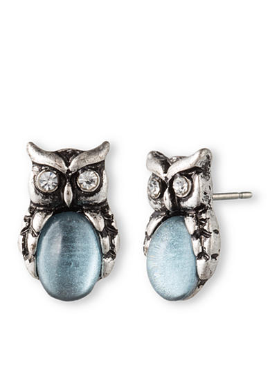 Lonna & Lilly Silver-Tone and Sky Blue Stone Owl Stud Earrings