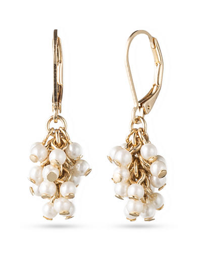 Lonna & Lilly Gold-Tone and Pearl Cluster Drop Earrings