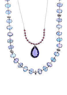 Lonna & Lilly Silver-Tone and Purple Stone Pendant Necklace