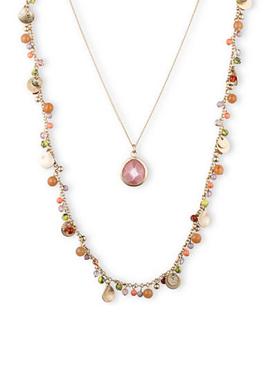 Lonna & Lilly Gold-Tone and Pink Quartz Pendant and Long Shaky Necklace