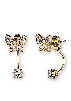 Lonna & Lilly Gold-Tone Butterfly Front and Back Earrings