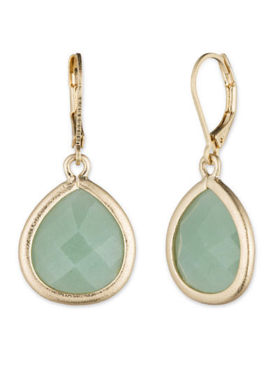 Lonna & Lilly Gold-tone and Green Teardrop Leverback Earrings
