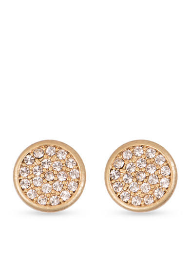 Lonna & Lilly Worn Gold-tone and Silk Disc Button Earrings