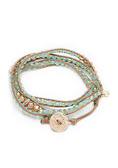 Lonna & Lilly Green Glass Beads and Gold-tone Beads Wrap Bracelet
