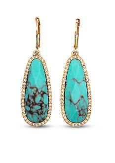 Lonna & Lilly Gold-Tone and Turquoise Long Drop Earrings