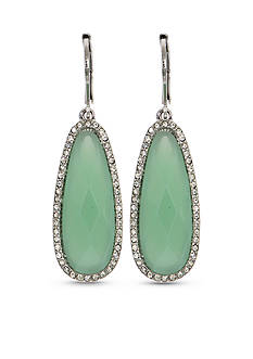 Lonna & Lilly Silver-Tone and Green Drop Earrings