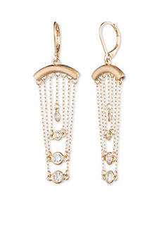 Lonna & Lilly Gold-Tone and Crystal Chain Drop Lever Back Earrings