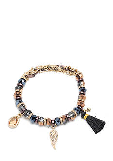 Nina Brown Gold-Tone Topaz and Black Bead Stretch Bracelet