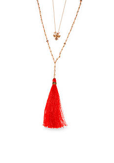 Lonna & Lilly Gold-Tone and Pink Multistrand Tassel Pendant Necklace