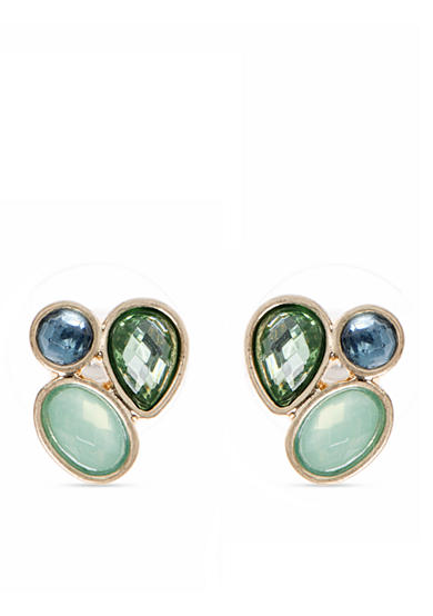 Lonna & Lilly Gold-Tone and Blue Green Cluster Stud Earrings