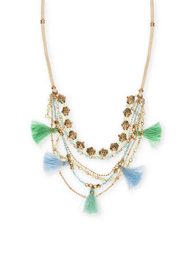Lonna & Lilly Gold-Tone Blue and Green Tassel Necklace