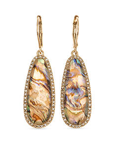 Lonna & Lilly Gold-Tone Abalone Glass Drop Earrings