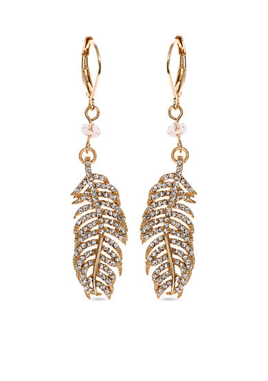 Lonna & Lilly Gold-Tone Feather Drop Earrings