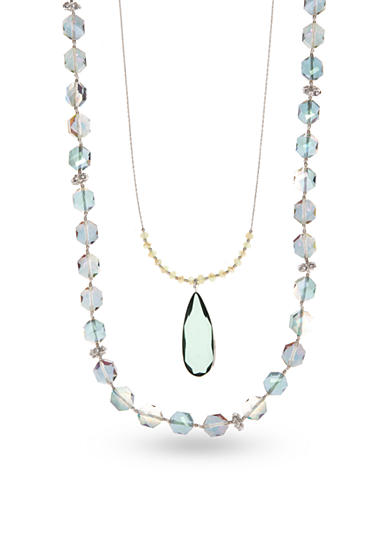 Lonna & Lilly Silver-Tone Green Cubic Zirconia Layered Necklace