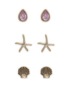 Lonna & Lilly Gold-Tone Shell Trio Stud Earrings