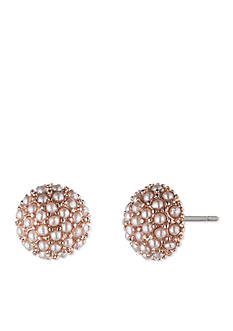 Lonna & Lilly Rose Gold-Tone Round Pink Stud Earrings