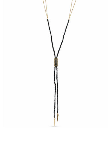 Lonna & Lilly Gold-Tone Jet Black Beaded Y Necklace