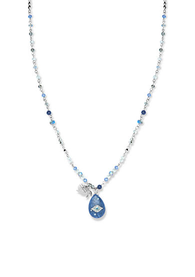 Lonna & Lilly Silver-Tone Blue Teardrop Pendant Necklace