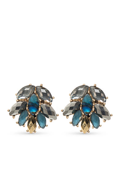 Lonna & Lilly Gold-Tone Blue Cluster Earrings