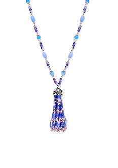 Lonna & Lilly Silver-Tone Blue Tassel Pendant Necklace