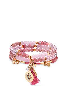 Lonna & Lilly Gold Tone Pink 3-Piece Stretch Bracelet Set