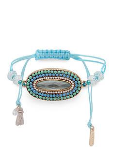 Lonna & Lilly Gold-Tone Blue Oval Slider Bracelet